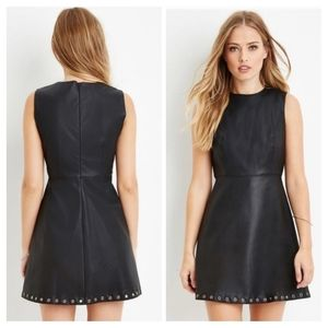 Faux leather black dress NWT